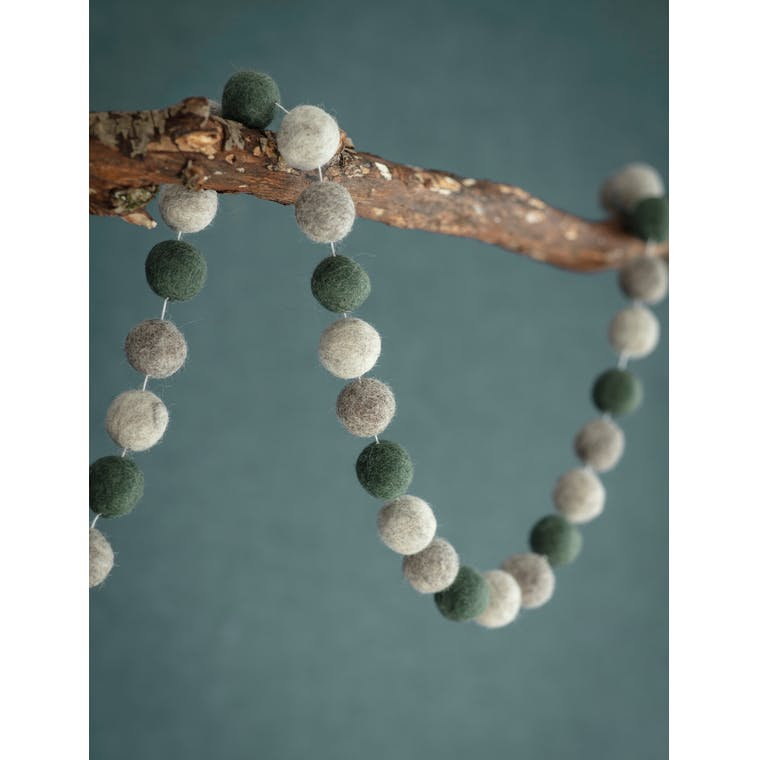 Felt Southwold Pom Pom Garland in Green or Grey | Garden Trading