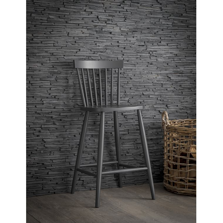 Beech Spindle Bar Stool in Black  | Garden Trading