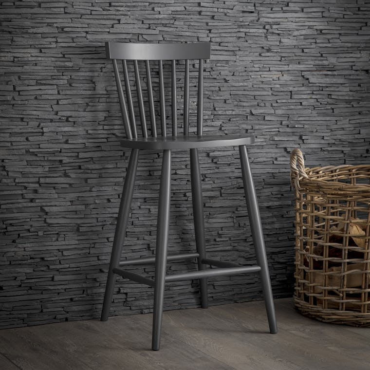 Wooden Spindle Bar Stool in Black | Garden Trading
