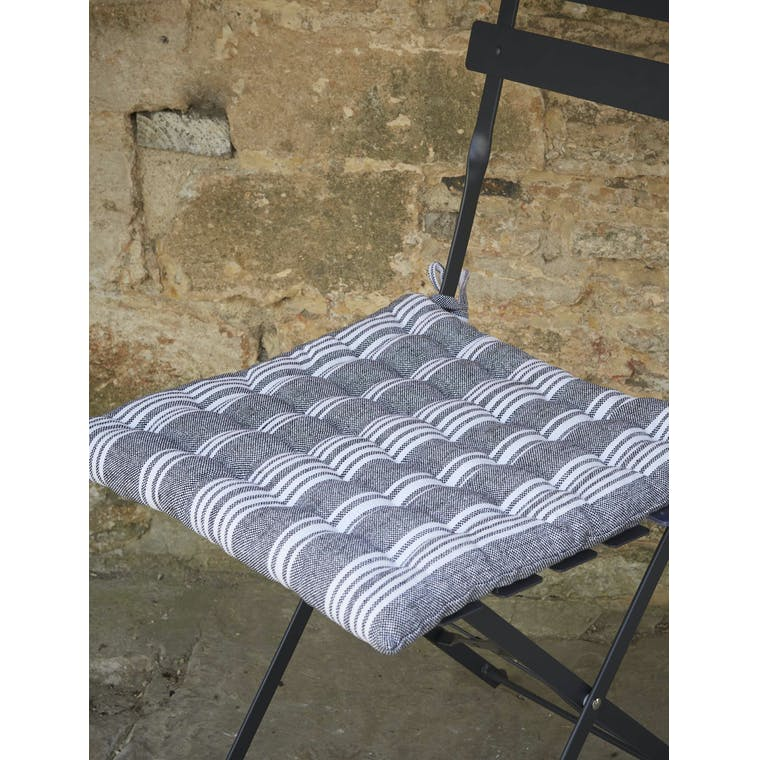 Garden Trading Seat Pad in Carbon Stripe - Cotton