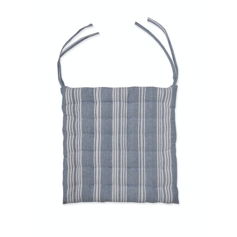 Cotton Seat Pad in Blue, Multi, Black or Beige Stripe | Garden Trading