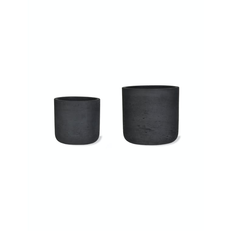 Concrete Set of 2 Stratton Plant Pots in Cream, Brown or Black | Garden Trading
