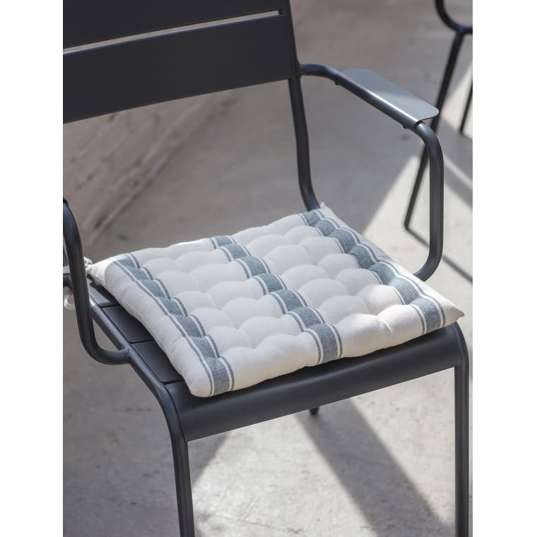 Cotton Seat Pad in Grey, Brown, Green or Red Stripe | Garden Trading
