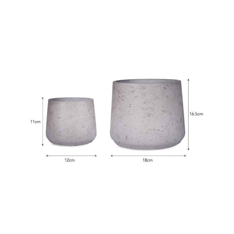 Cement Set of 2 Stratton Tapered Plant Pots in Stone     Garden Trading
