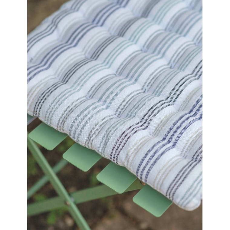 Cotton Seat Pad in Blue, Multicoloured, Black or Beige Stripe | Garden Trading