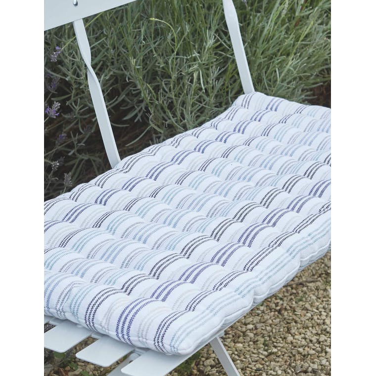 Garden Trading Bistro Bench Seat Pad in Orchard Stripe on Bench - Cotton