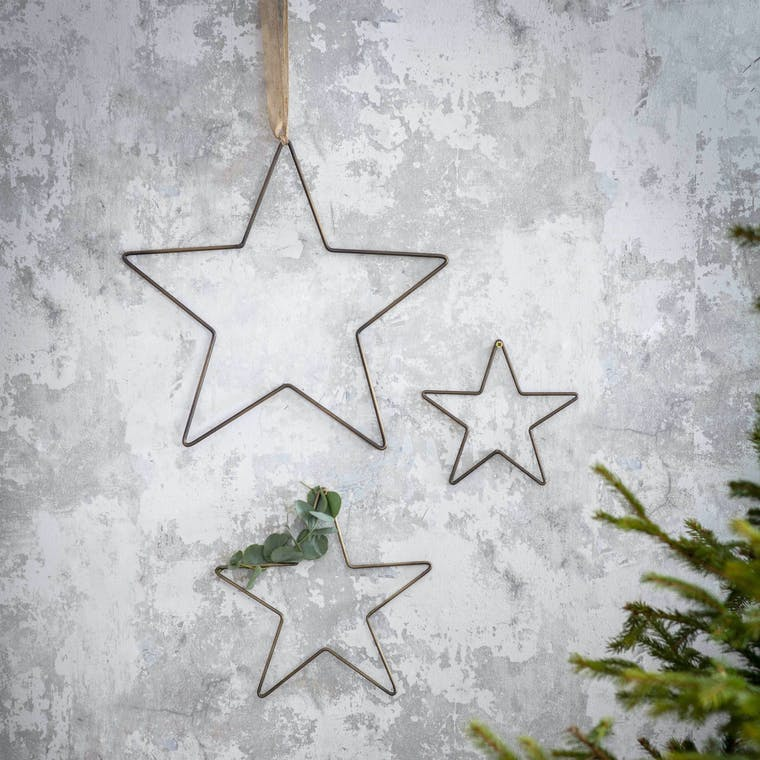 Antique Brass Set of 3 Cromwell Star Decorations | Garden Trading