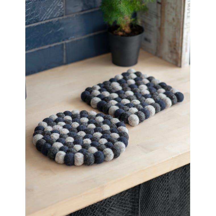 Felt Southwold Square Trivet in Grey or Blue | Garden Trading