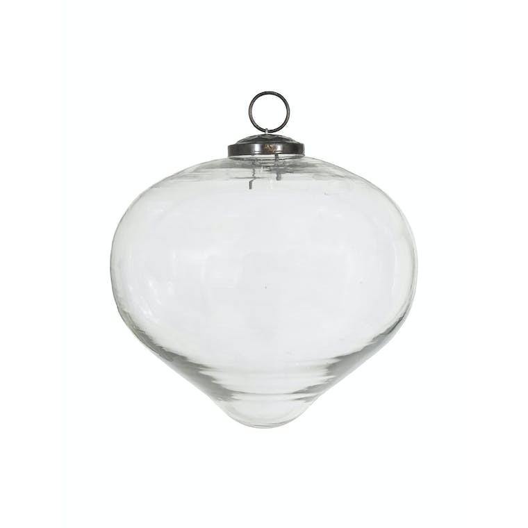 Large Glass Bauble Teardrop in Clear or Amber - 17cm - Hailes   Garden Trading
