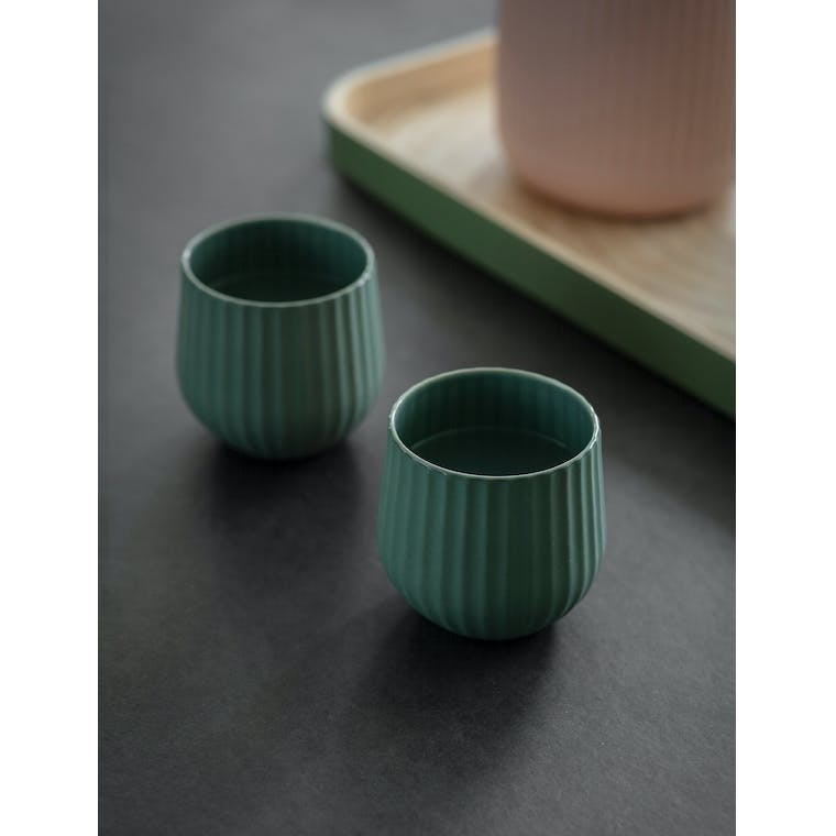 Garden Trading Pair of Linear Tumblers in Rosemary - Ceramic