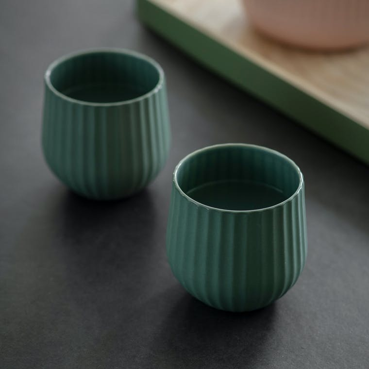 Ceramic Pair of Linear Tumblers in Pink or Green | Garden Trading