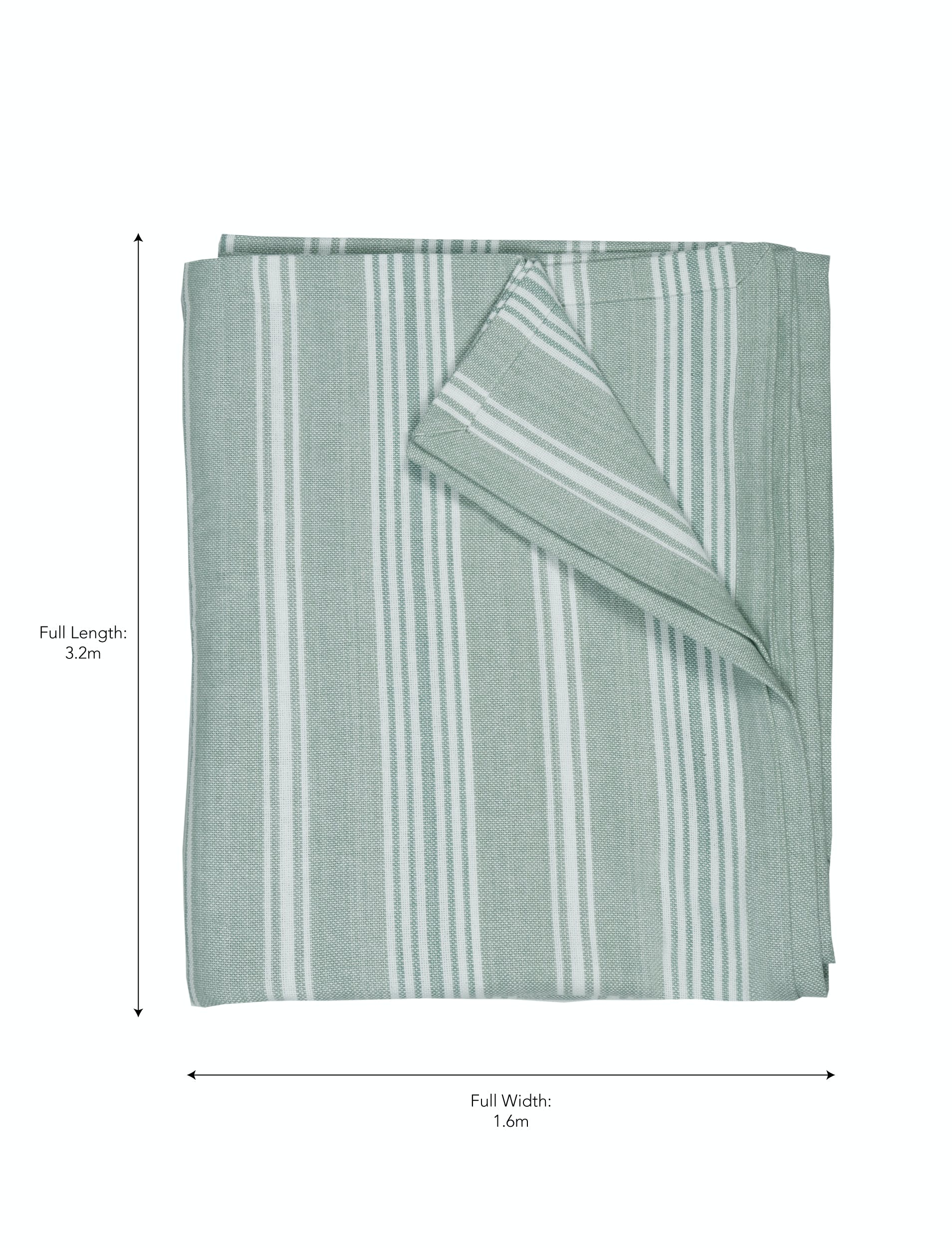 Cotton Green and White Stripe Tablecloth in Small or Large | Garden Trading