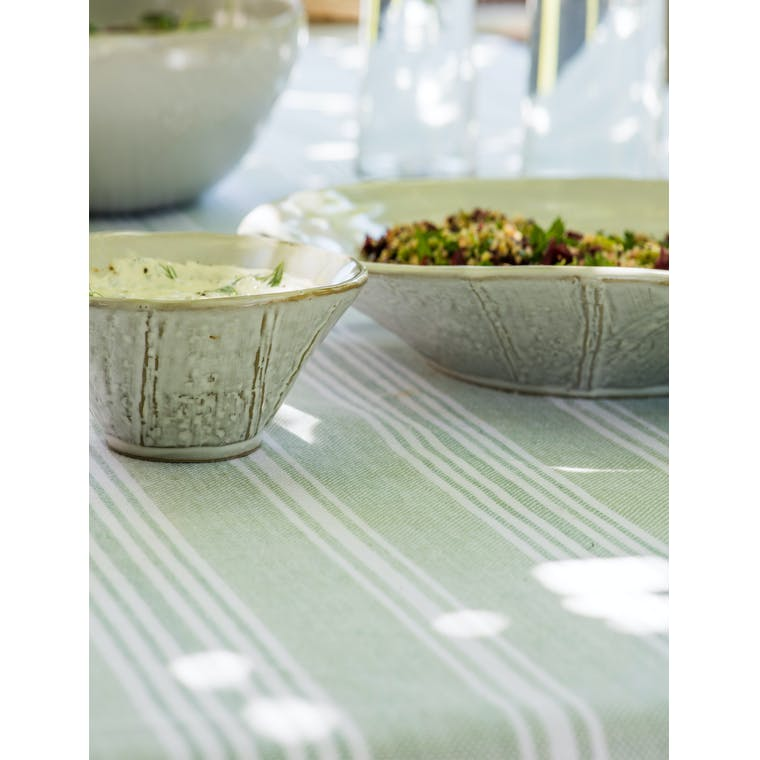 Cotton Green and White Stripe Tablecloth in Small or Large   Garden Trading