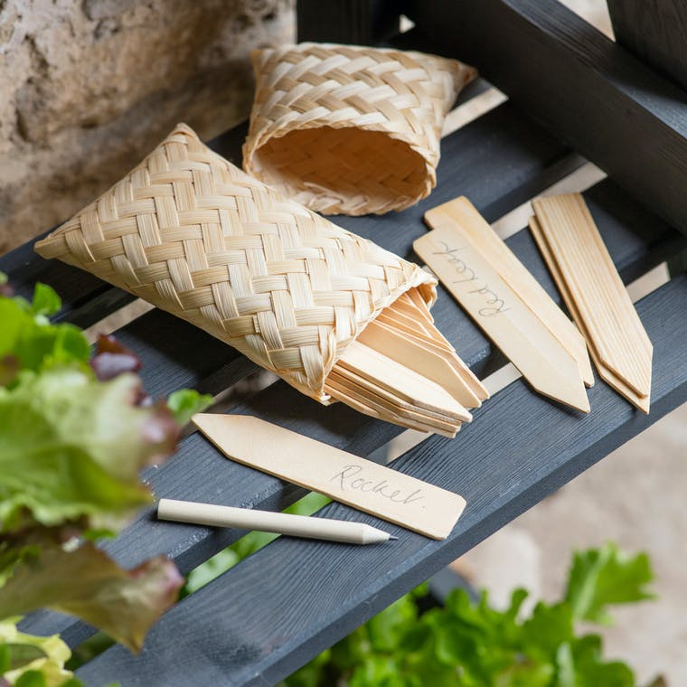 Wooden Garden Plant Tags in a Bamboo Bag | Garden Trading
