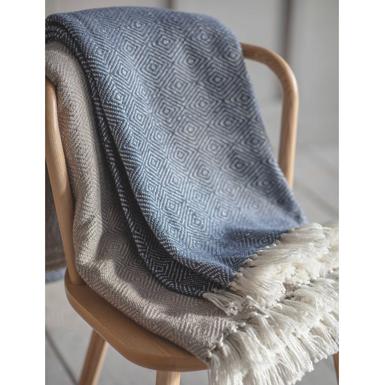 Recycled Diamond Blanket in Grey, Blue or Natural | Garden Trading