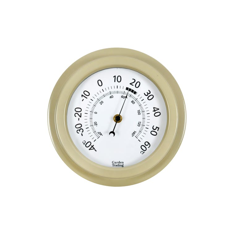 Tenby Outdoor Thermometer, 8 Inch in Cream | Garden Trading