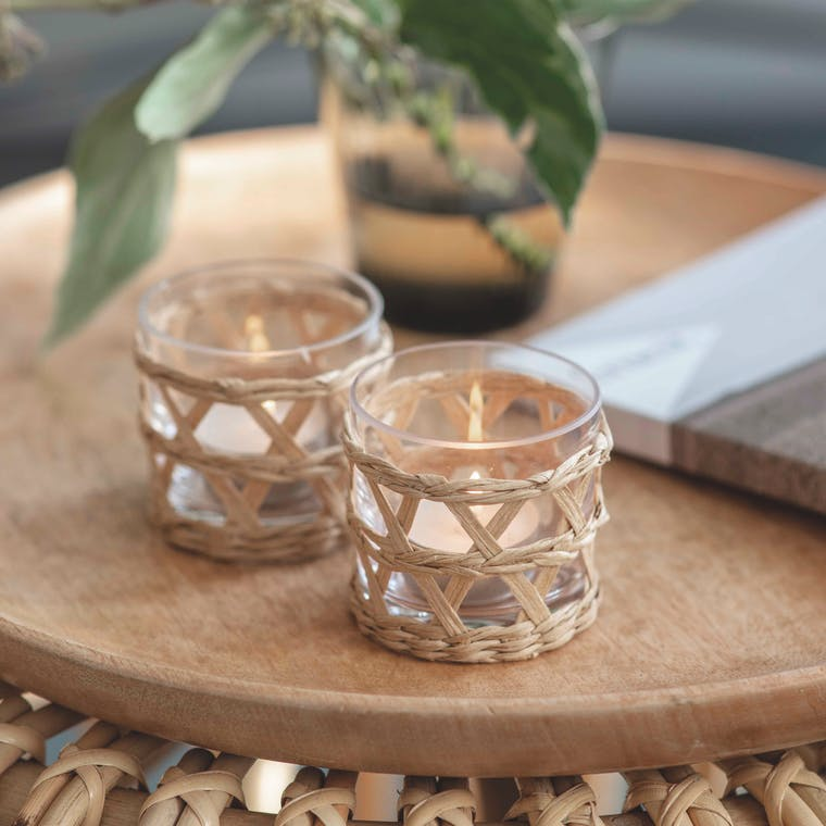 Glass and Rattan Pair of Portmore Tealight Holders | Garden Trading