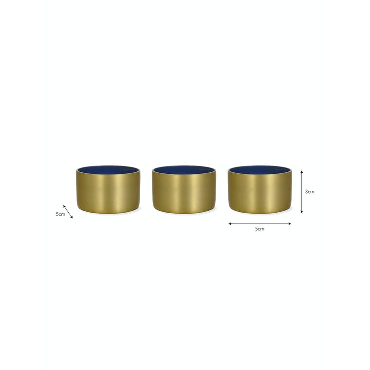 Set of 3 Fulwell Tealight Holders in Brass or Green | Garden Trading