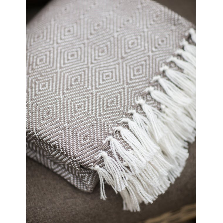 Recycled Diamond Blanket in Grey or Yellow | Garden Trading