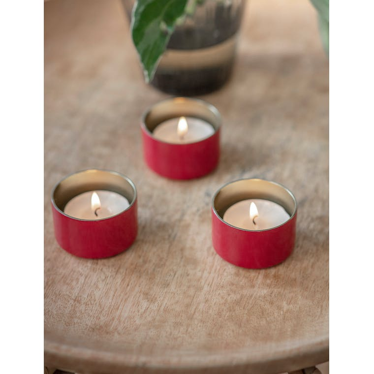 Set of 3 Fulwell Tealight Holders in Pomegranate by Garden Trading