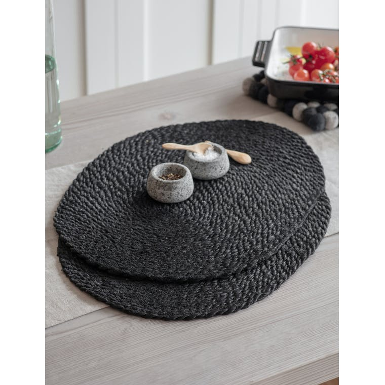 Pair of Jute Table Mats in Black by Garden Trading
