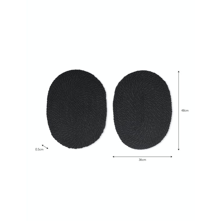 Pair of Jute Table Mats in Natural or Black   Garden Trading