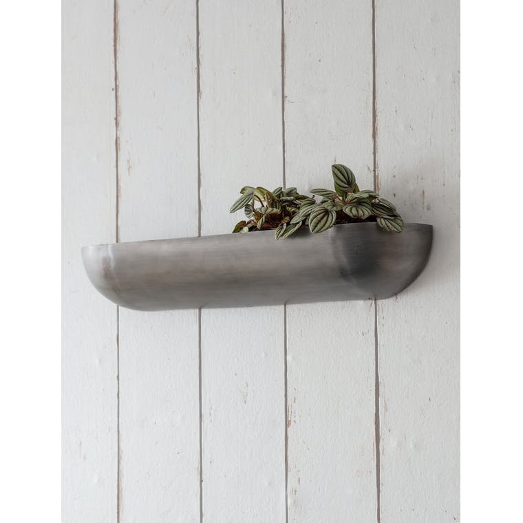 Garden Trading Wall Trough Planter, Large - Antique Pewter
