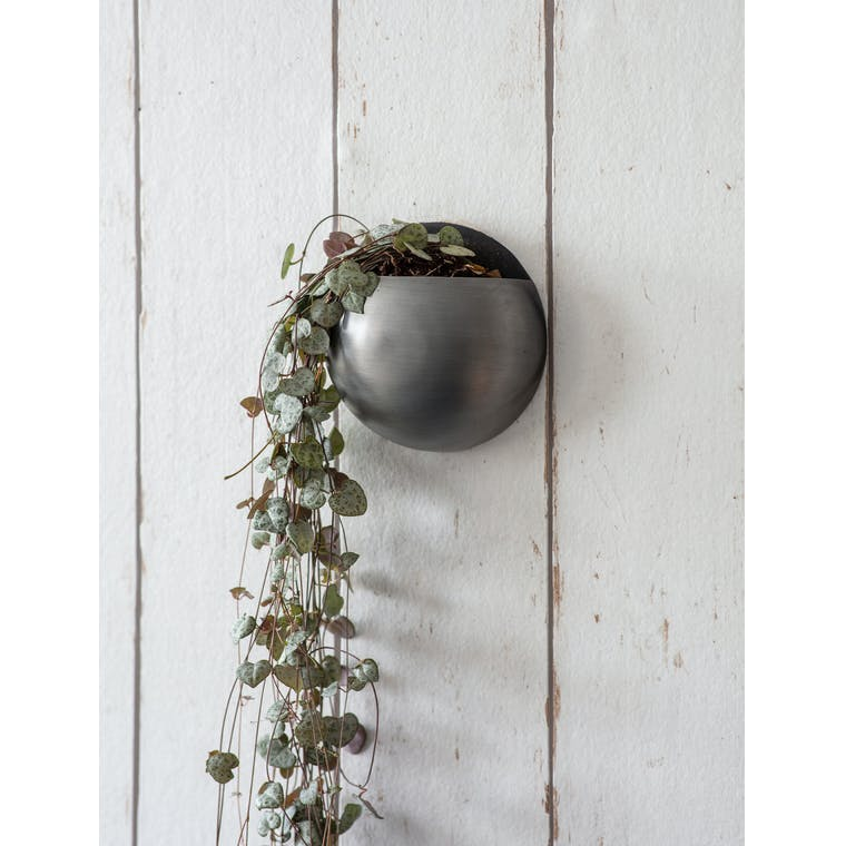 Garden Trading Small Round Wall Planter - Antique Pewter