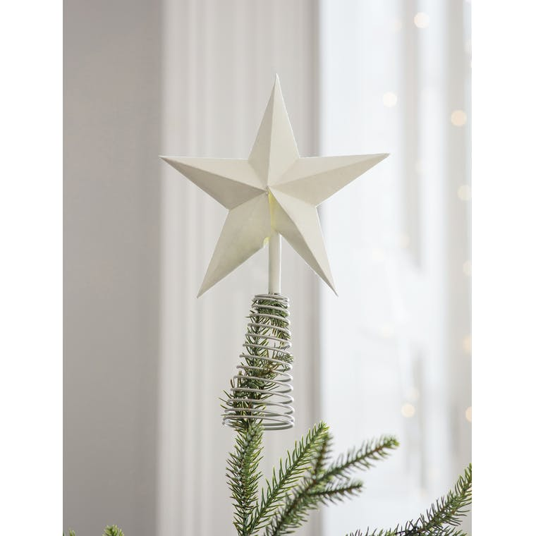 Paper Maddox Star Tree Topper in Blue or White | Garden Trading