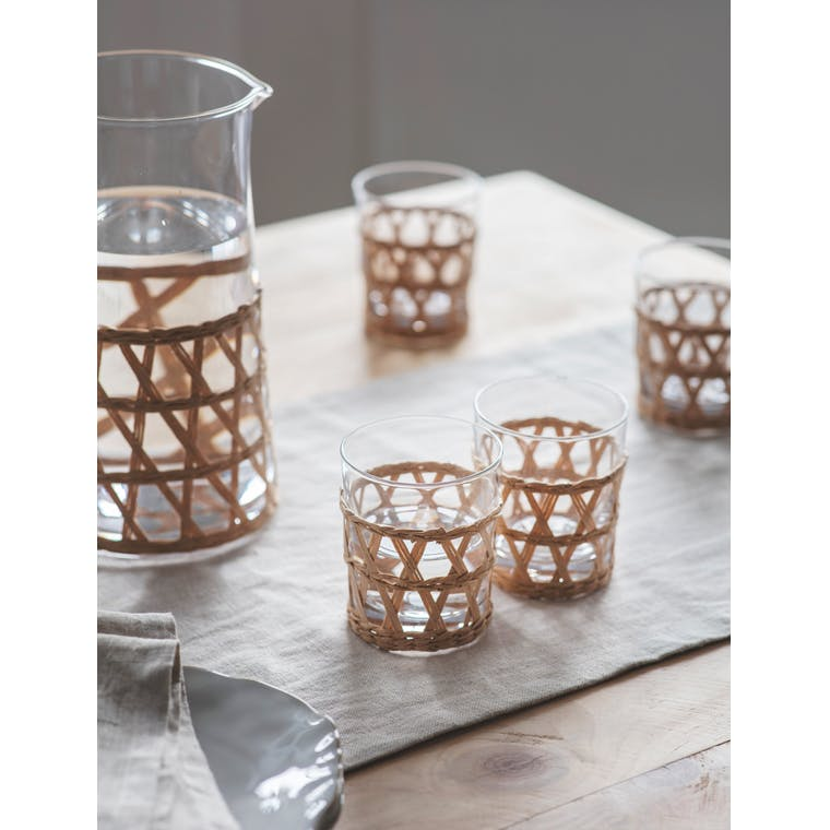 Glass Set of 4 Portmore Tumblers in Natural or Blue | Garden Trading