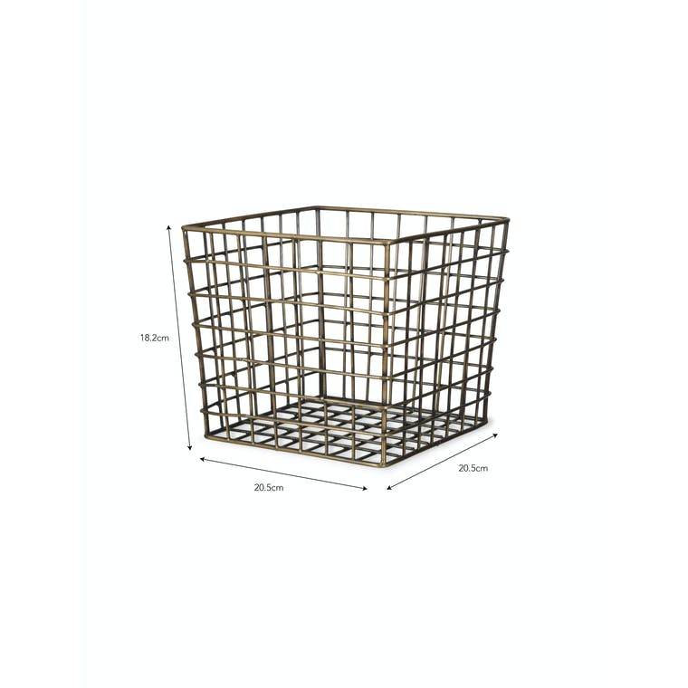 Wirework Antique Brass Brompton Utility Storage Basket | Garden Trading