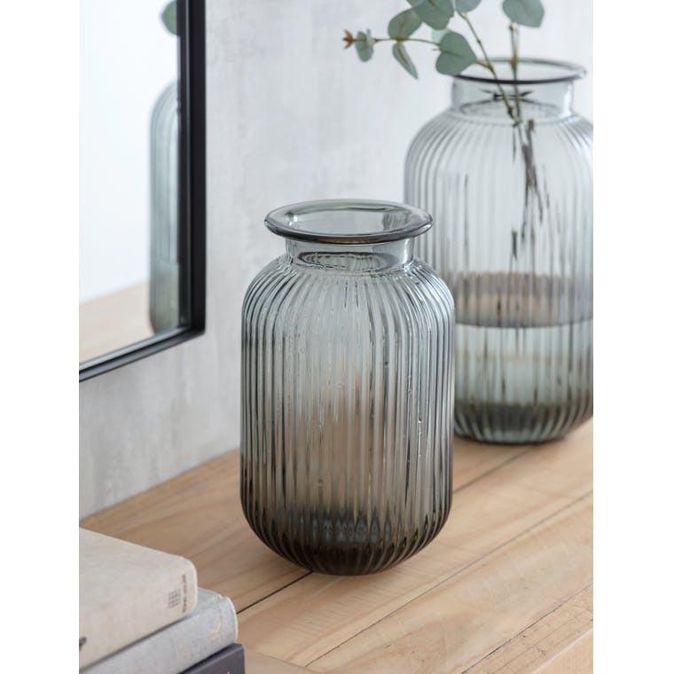 Glass Ribbed Vase in Small or Large | Garden Trading
