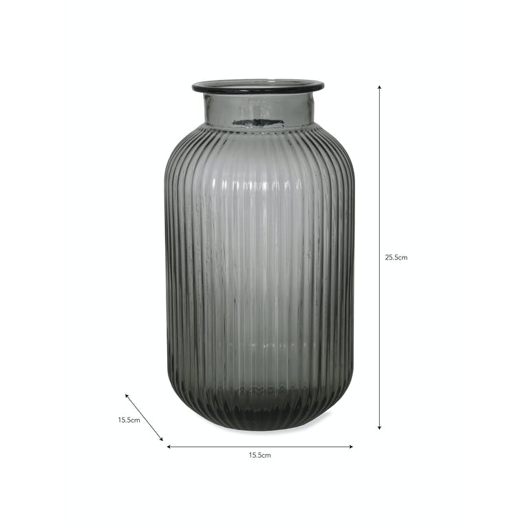 Glass Ribbed Vase in Small or Large   Garden Trading