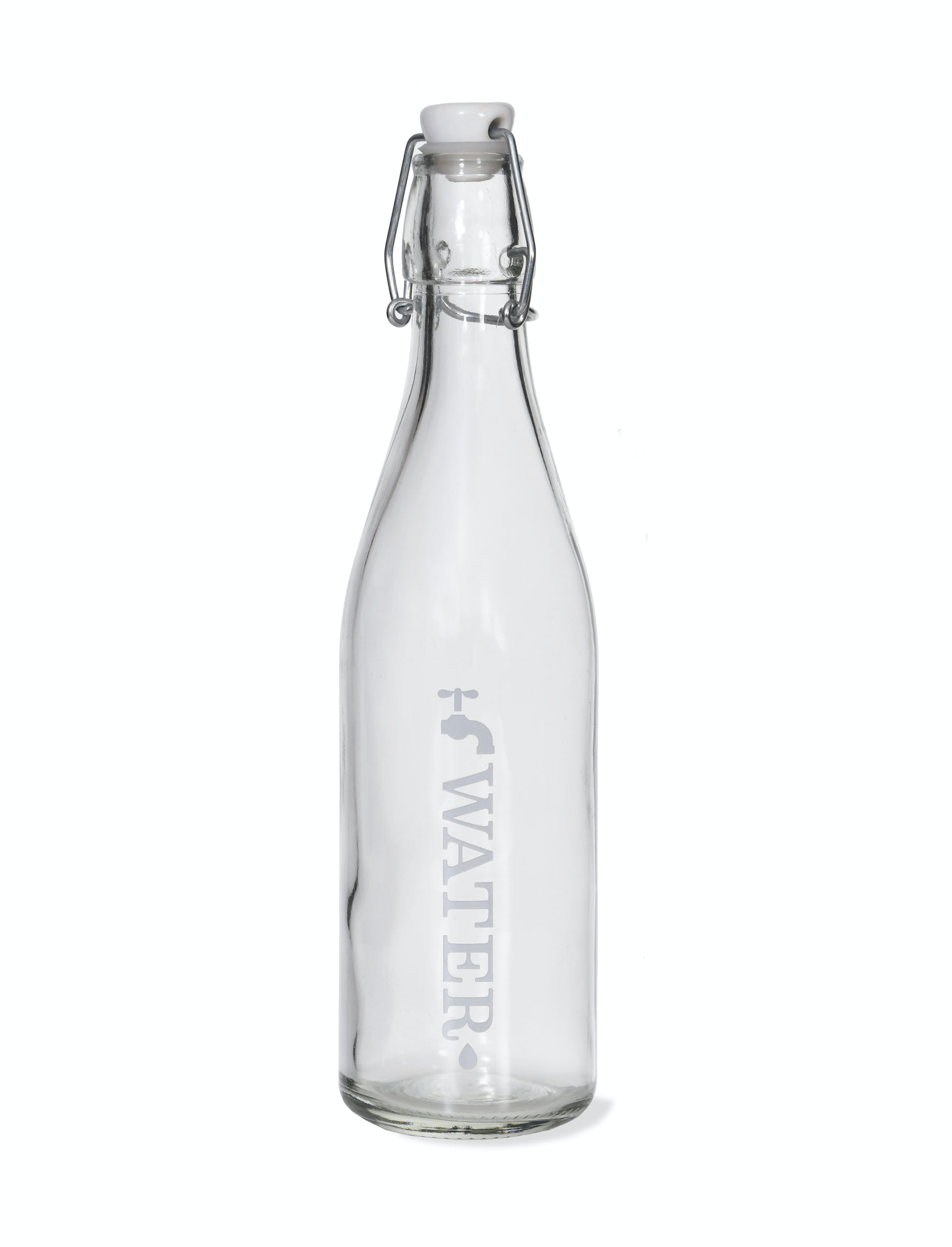 Glass Tap Water Bottle, White in Small or Large | Garden Trading