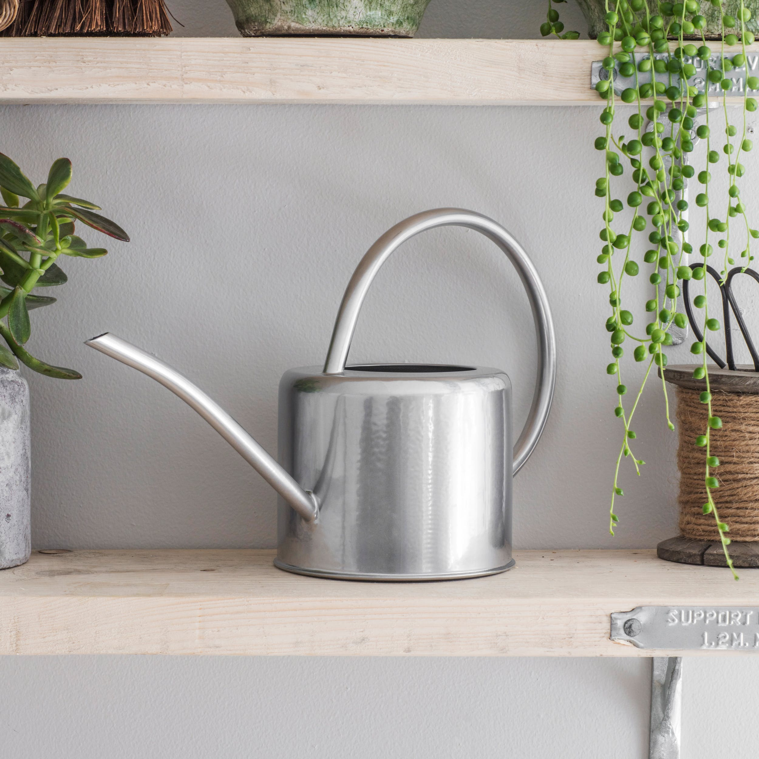 Galvanised 1.9L Indoor Watering Can in Silver | Garden Trading