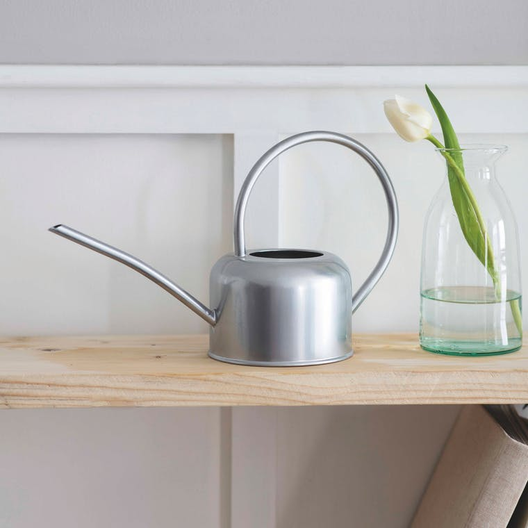 Galvanised 1.1L Indoor Watering Can in White or Silver | Garden Trading