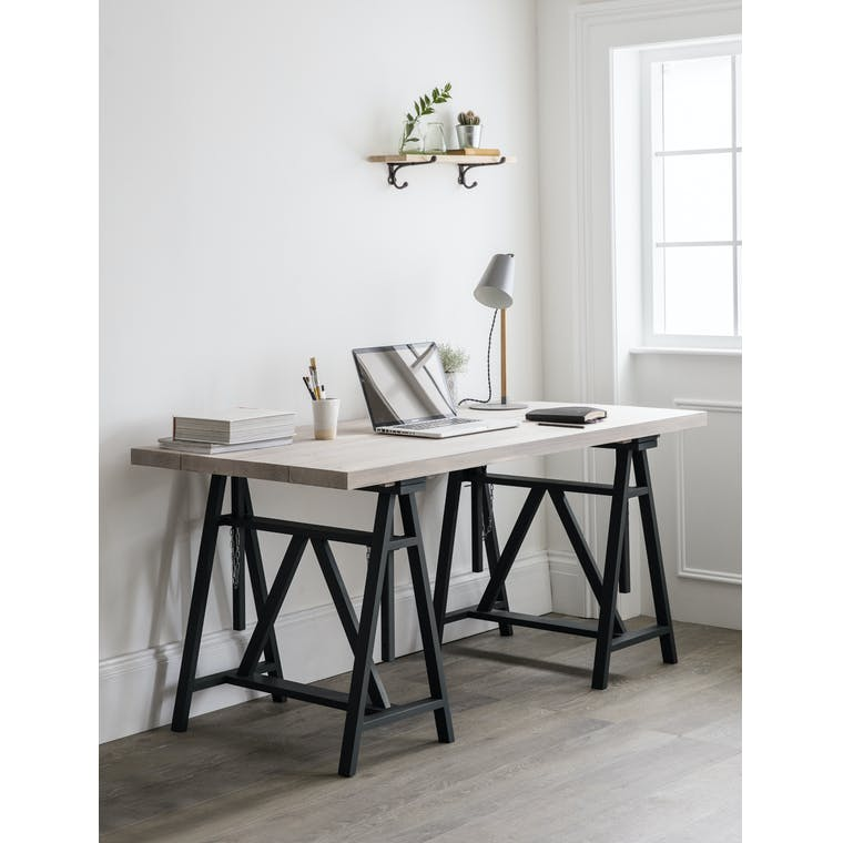 Wooden Workshop Trestle Desk in Black | Garden Trading