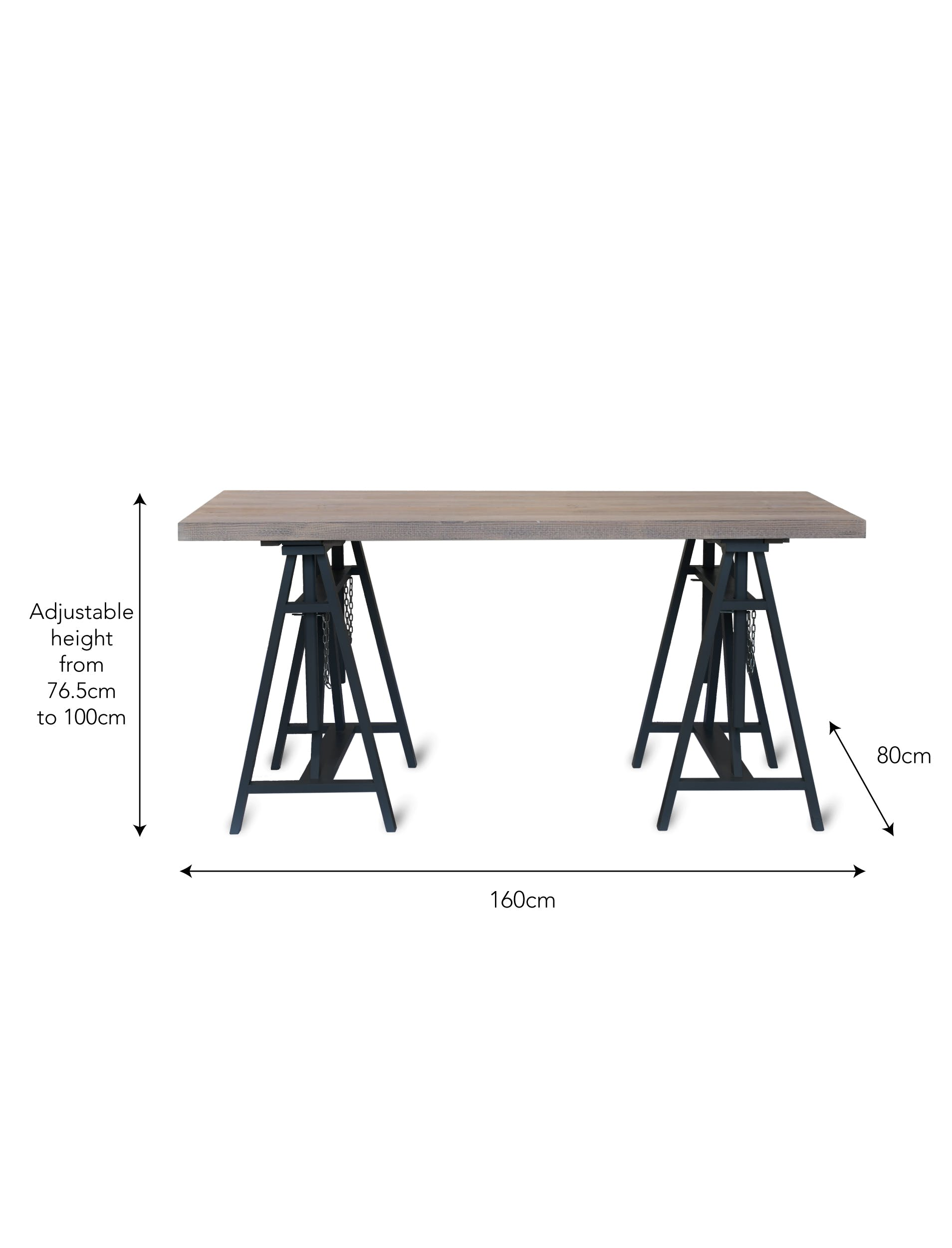 Wooden Workshop Trestle Desk in Grey or Black | Garden Trading