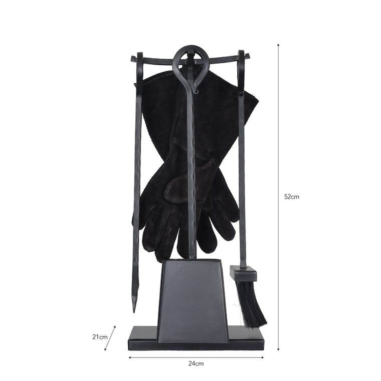 Black Wrought Iron Wood Burner Set | Garden Trading