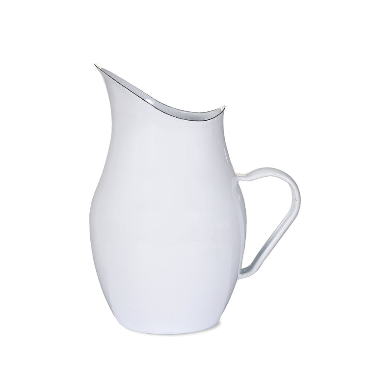 Enamel Water Pitcher in White  | Garden Trading