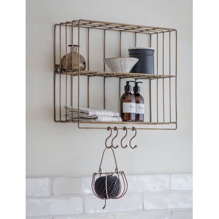 Wirework Antique Brass Brompton Wall Rack | Garden Trading
